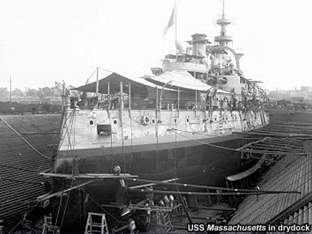 USS Massachusetts in dry dock